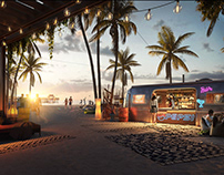 3D render of a Beach Lounge Zone