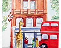 Giraffe taking the London bus
