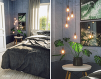 Cozy summer bedroom made in 3D