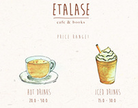 ETALASE CAFE: Fake price list and menu.