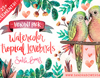 Watercolor Tropical Lovebirds - Vibrant Pack