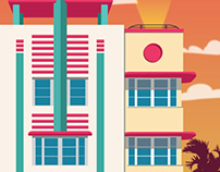 Art Deco Miami Hotel Illustrations