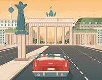 Berlin Germany Retro Travel Poster Illustration