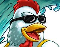Surfer Chicken - Shirt design