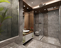 Bathroom Interior with Stone and Wood Combination