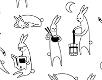 Year of the Rabbit Tea Towel