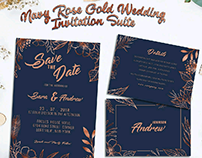 Navy rose gold wedding invitation sets template