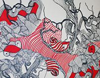 textile & wallpaper HIDDEN WORLD patterns close up