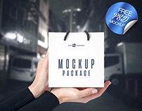 3 LITTLE BAGS IN HANDS FREE PSD MOCKUP