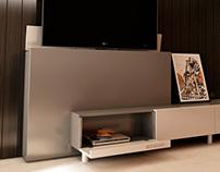 Mueble para LCD con movimiento vertical