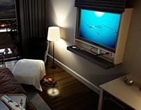 Mueble para LCD con puerta deslizante vertical