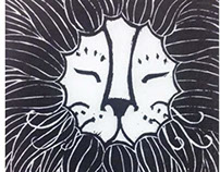 The King Is Dreaming Linoleum Relief Print 9.5x11