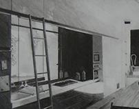 Pencil & Watercolor Drawings of Room | Interior Design