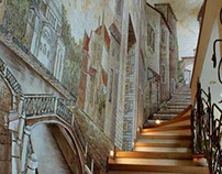 Mural on the Staircase in the luxury residence