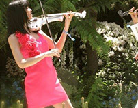 Electric violinist Linzi Stoppard flower show