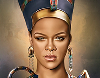 Rihanna Digital Oil Painting by Wayne Flint