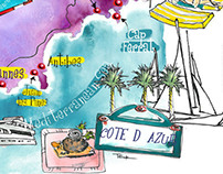 Maps of Provence and Corsica-Cannes Antibes Marseille