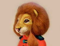 Leopold. Lion. Author's doll, needle felted doll.