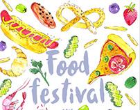 Watercolos Illustration | Food festival poster