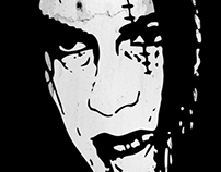 Bloody Scar Face - Cool Horror Grungy T-Shirt Design