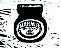 Linocut prints Marmite, Battersea and can of worms