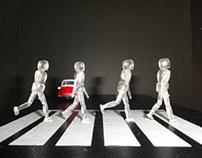 Acrílic model crossing the road