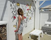 Doodle wall at a beach bar