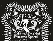 Pacific Ocean Surfer graphic design vector art