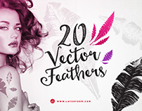 20 Handsketched Vector Feathers