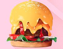 HUMMM! Burger illustration