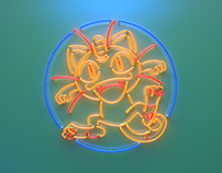 Pokeman GO Meowth Neon Sign