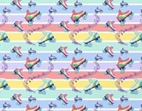 Pastel Rainbow Roller Skates Pattern