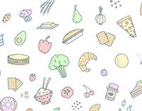 Floating Food   Illustration