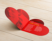 Free heart shaped leaflet mockup
