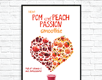 Pom And Peach Passion Smoothie Advertisement Poster