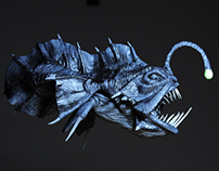 Prehistoric Angler fish / Painted