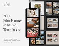 200 Film Frames & Instant Instagram Templates Canva PSD