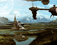 Space Colony Matte Painting