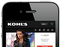 Mobile UI mockup of Kohl's Dept. stores mobile app.