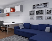 Living room & home office space