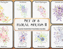 Set of 8 watercolor floral sprays II