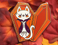 Vampire Kitty Enamel Pin