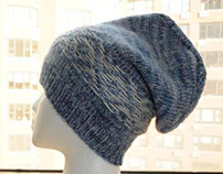 """Blue """"Snow Day"""" Hat, Merino Wool & Cashmere, Unisex."""