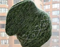 """Green """"Snow Day"""" Hat, Merino Wool & Cashmere, Unisex."""