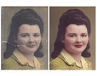 Restoration of a cracked & damaged photograph (c 1950)
