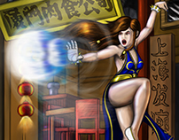 Chun Li Blue Dress Digitally Painted