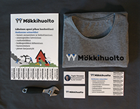 Mökkihuolto logo and advertisements