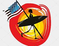American flag graphic design vector art