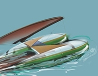 Computer sketch of catamaran