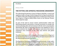 VETTING AND APPROVAL PROCEDURE  AMENDMENT (2013)